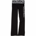 Snow Leopard Waist Yoga Pants w/ Volleyball Printed on Leg