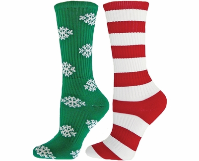 Snowflakes & Candy Cane Stripes Holiday Mismatch Crew Socks