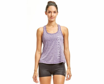 Soffe Dri Acai Purple Heather Racerback Tank Tops w/ Volleyball Print