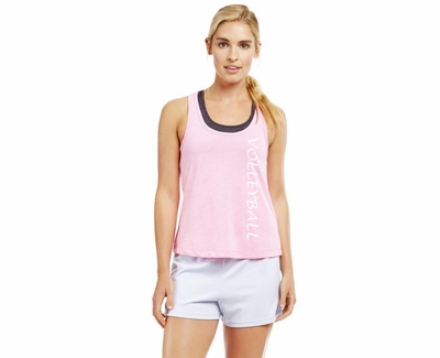 Soffe Dri Light Pink Heather Racerback Tank Top w/ Sport Print