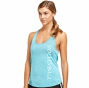 Soffe Dri Scuba Blue Heather Racerback Tank Top w/ Volleyball Print
