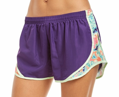 Soffe Purple & Tie-Dye Marble Track Shorts