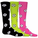 Softball / Baseball Logo Knee High Socks - 8 Color Options