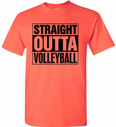 Straight outta volleyball design neon coral heather short for Straight from the go shirt