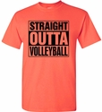 Straight Outta Volleyball Design Neon Coral T-Shirt