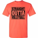 Volleyball Shirt - Straight Outta Volleyball Neon Coral Short Sleeve