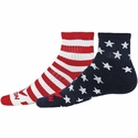 Stripes & Stars USA Flag Mismatch Honor Ankle Socks