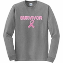 Survivor Pink Ribbon Cancer Awareness Long Sleeve Shirt - in 20 Shirt Colors