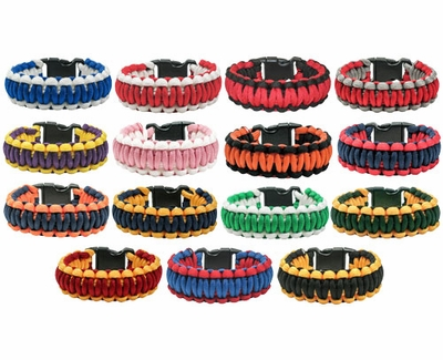 Paracord Survival Bracelets - in lots of Colors