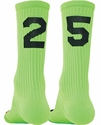 Team Number Solid Florescent Green Crew Sock
