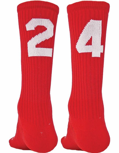 Team Number Solid Red Crew Sock