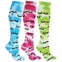 Tie Dye Mustache Knee High Socks