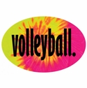 Tie-Dye Volleyball Word Oval Decal