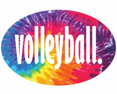 Tie-Dye Volleyball Word Oval Magnets