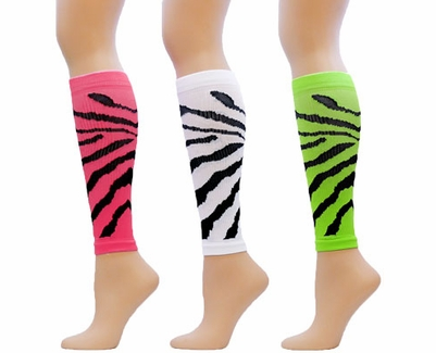 cd0c885516a Tiger   Zebra Stripe Athletic Sport Compression Leg   Calf Sleeves in 3  Color Options - Compression Socks
