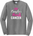 Tougher Than Cancer Pink Ribbon Long Sleeve Shirt - in 18 Shirt Colors