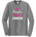Tougher Than Cancer Pink Ribbon Long Sleeve Shirt - in 20 Shirt Colors