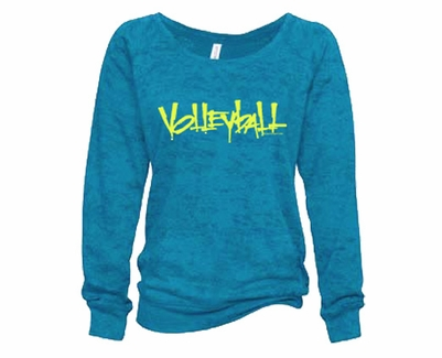 Turquoise Ladies Burnout Fleece Crew w/ Abstract Volleyball Design in 5 Colors