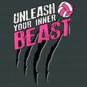 Unleash Your Inner Beast Design Long Sleeve Dark Grey Volleyball Shirt