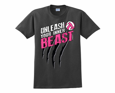 Super Unleash Your Inner Volleyball Beast Dark Heather Grey Short Sleeve  YH98