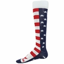 USA Flag Stripes & Stars Brave Knee High Socks