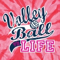 Volley Ball Life Design Neon Coral Tie-Dye T-Shirt