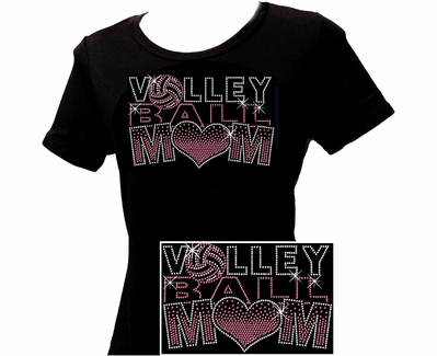 Volley Ball Mom Large Pink Heart Rhinestone V-Neck Fitted Shirt
