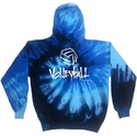 Volleyball Abstract Design Tie Dye Hooded Sweatshirt - in 4 Hoodie Colors