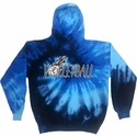 Volleyball Ball & Flames Design Tie Dye Hooded Sweatshirt - in 4 Hoodie Colors