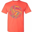 Volleyball T-Shirt Bright VBall & Words Design Neon Coral Short Sleeve