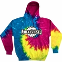 Volleyball Banner Design Tie Dye Hooded Sweatshirt - in 4 Hoodie Colors