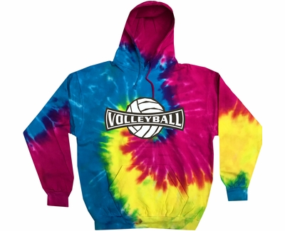 Volleyball Banner Design Tie Dye Hooded Sweatshirt - in 6 Hoodie Colors