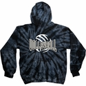 Volleyball Bridge Design Tie Dye Hooded Sweatshirt - in 6 Hoodie Colors
