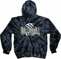 Volleyball Bridge Design Tie Dye Hooded Sweatshirt - in 4 Hoodie Colors
