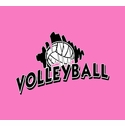Volleyball Brush Design Long Sleeve Shirt - in 20 Shirt Colors
