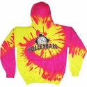 Volleyball Brush Design Tie Dye Hooded Sweatshirt - in 4 Hoodie Colors
