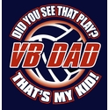 Volleyball Dad, That's My Kid Design Navy Blue T-Shirt