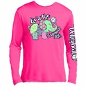 Volleyball Elephant Design Neon Pink Long Sleeve Shirt