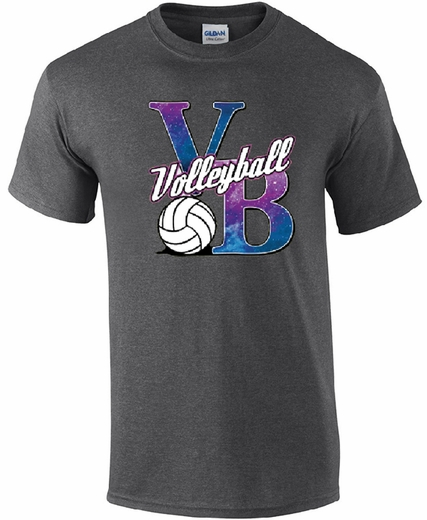 Volleyball Galaxy Design Dark Grey T-Shirt