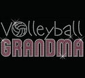 Volleyball Grandma Pink Rhinestone Black Fitted Crew Neck Tee