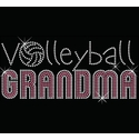 Volleyball Grandma Pink & Silver Rhinestone Crew Neck Fitted Shirt