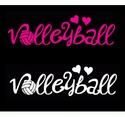 Volleyball Hearts Window Decal - in 2 Colors