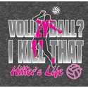 Volleyball - Hitter's Life Design Dark Grey T-Shirt
