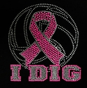 Volleyball I Dig Pink Ribbon Awareness Glitter Rhinestone Fitted Tee