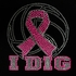Pink Ribbon I Dig Volleyball Pink Glitter Rhinestone Fitted Shirt