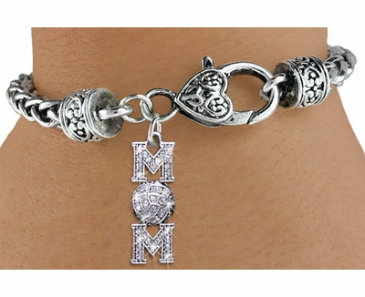 Volleyball Mom Multi-Crystal Antique Charm Bracelet