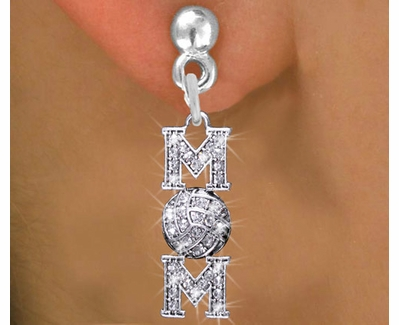 Volleyball Mom Multi-Crystal Charm Post Earrings