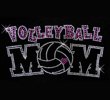 Volleyball Mom Small Pink Heart Rhinestone Crew Neck Fitted Shirt