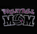 Volleyball Mom Small Pink Heart Rhinestone Fitted Crew Neck Tee
