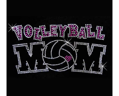 Volleyball Mom Pink Heart Rhinestone Crew Neck Fitted Shirt